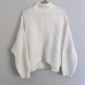 Express Oversized White Knit Sweater